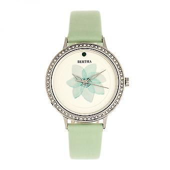 Bertha Delilah Leather-Band Watch - Silver/Mint