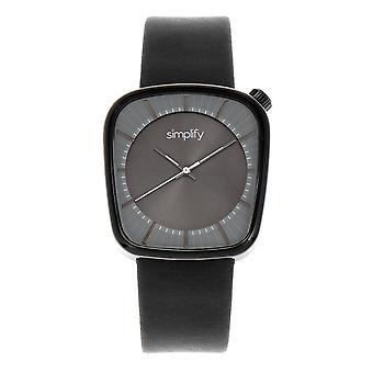 Yksinkertaistaa 6800 nahka bändi Watch - musta/harmaa