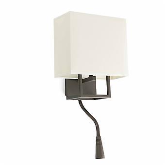 Faro - Vesper brun væglampe med LED læselampe og skygge FARO29983