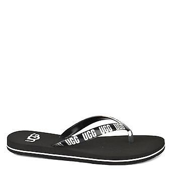 UGG Simi Black Graphic Logo Flip Flop