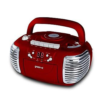 Groov-e Retro Boombox Portable CD Cassette Radio Player - Red GVPS813RD (GVPS813RD)