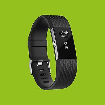 Für Fitbit Charge 2 Kunststoff / Silikon Armband für Männer / Größe L Schwarz Uhr