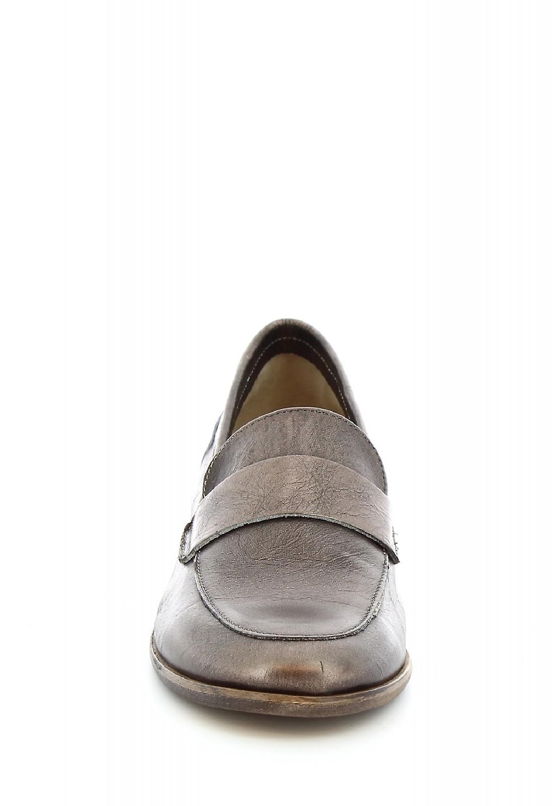 Mocassins à la main de Leonardo chaussures en cuir de veau ambre platine