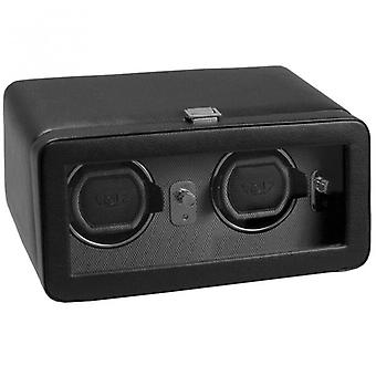 Wolf Designs Windsor Grey & Black Leather Double Watch Winder 2.5 With Cover