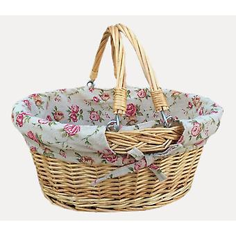 Small Swing Handle Shopping Basket With Red and White Check