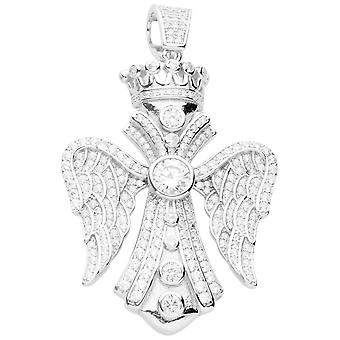 Prêmio bling-925 Sterling Silver Wing Cruz pingente