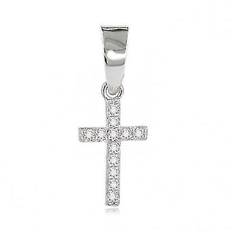 Rhodié Little Cross And Cubic Zirconia pendant