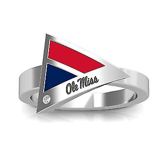 University Of Mississippi Engraved Sterling Silver Diamond Geometric Ring In Red and Blue
