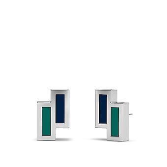 سياتل مارينرز الفضة الفضة الأقراط مسمار المينا في الأزرق والأزرق الأخضر