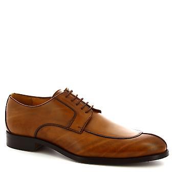 Leonardo Shoes Men's handmade lace-ups elegant shoes in tan calf leather