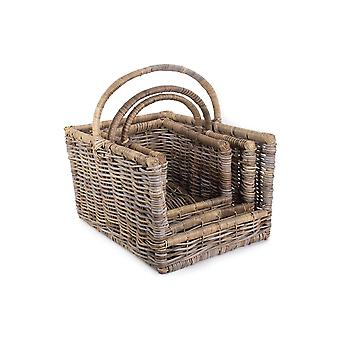 Kubu Grey Rattan Open Ended Log Basket Set 3