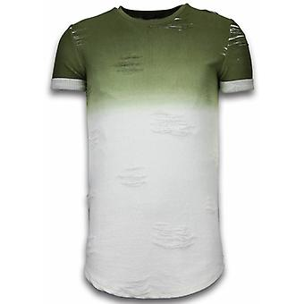 Flare Effect T-shirt - Long Fit -Shirt Dual Colored - Green