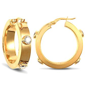 Jewelco London Ladies 9ct Yellow Gold White Round Brilliant Cubic Zirconia Square Tube 6mm Hoop Earrings 26mm
