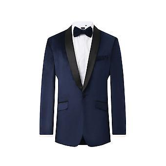 Dobell Mens Navy Tuxedo Dinner Jacket Regular Fit Velvet Contrast Shawl Lapel