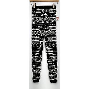 Mossimo Leggings Knit Elastic Waist Printed Slim Leg Black Womens