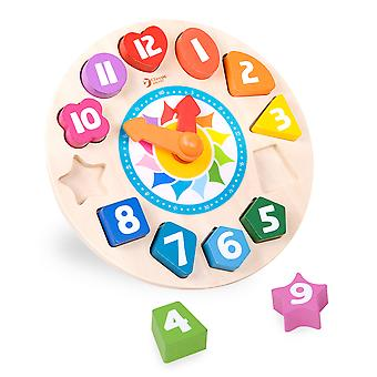 Classic World - Wooden Tick Tock Clock Learning Educational Time Telling Puzzle