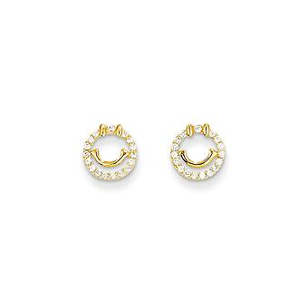 14k Yellow Gold Polished Cubic Zirconia Smiley Face for boys or girls Post Earrings