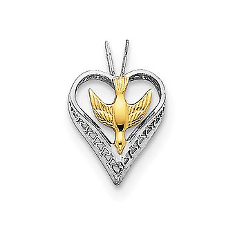 18k Gold Flashed and 925 Sterling Silver Solid Polished Dove Heart Pendant Jewelry Gifts for Women