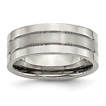 Titan gravierbare Grooved 8mm gebürstet und poliert Band Ring Schmuck Geschenke für Frauen - Ring Größe: 6 bis 15