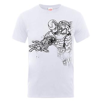 Marvel Avengers Assemble Iron Man Mono Sketch T-Shirt - White