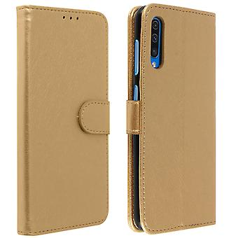 Flip wallet case, magnetic cover with stand for Samsung Galaxy A50 - Gold
