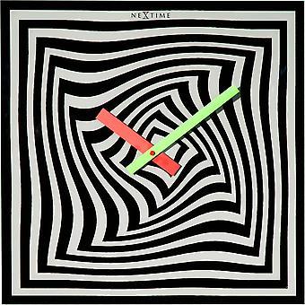 Nextime-vægur-Ø 43 cm-glas-sort/hvid-' Gracy tid '