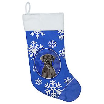 Winter Snowflakes Black Labrador Retriever Christmas Stocking
