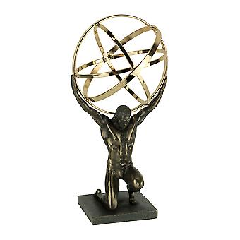 Bronze and Gold Finsh Atlas Carrying Celestial Sphere Statue