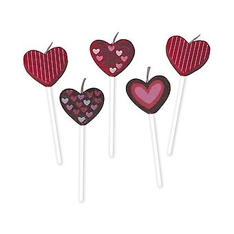 5 Hearts Candles - 7cm Pick Candles