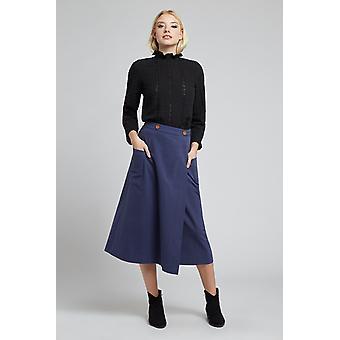 Louche Ari Utility Wrap Midi Skirt Navy
