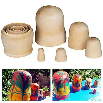 TRIXES 5 layer Wooden DIY Nesting Dolls Craft Creative Blank Unpainted