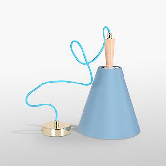 Luce Blue Ceiling Light With Oak Wood Spindle