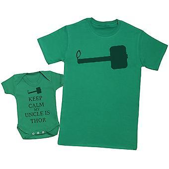 保持冷静我的叔叔是托尔匹配父亲婴儿礼物集 - 男士T恤和婴儿体衣