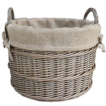 Ronde Hessische bekleed Wicker log mand