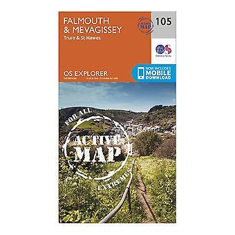 New Ordnance Survey Explorer Active 105 Falmouth & Mevagissey Map Orange