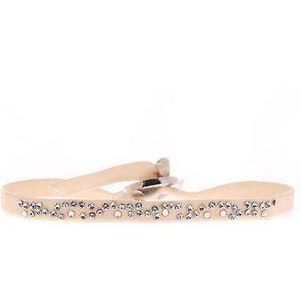 Bracelet interchangeable A35651 - fabric Beige woman Swarovski crystals Bracelet
