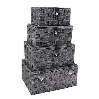 Set of 4 Black Paper Rope Picnic Baskets