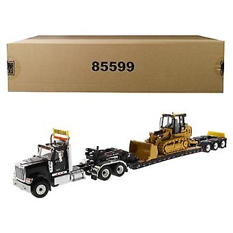 International HX520 Tandem Tractor Black avec XL 120 Lowboy Trailer et CAT Caterpillar 963K Track Loader Set of 2 pieces 1/50 Diecast Models by Diecast Masters