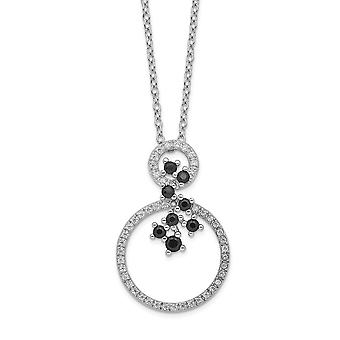 925 Sterling Silver Rhodium plated CZ Cubic Zirconia Simulated Diamond and Spinel 2 circle Necklace 16 Inch Jewelry Gift