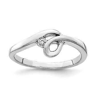 925 Sterling Silver Rhodium plated Polished With CZ Cubic Zirconia Simulated Diamond Ring Jewelry Gifts for Women - Ring
