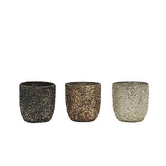 Light & Living Tealight 3 Set 6.5x7cm - Branca Sliver-Copper-Black