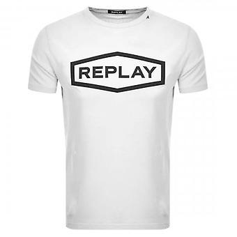 Replay Raised Centre Logo Crew Neck T-shirt wit M3058