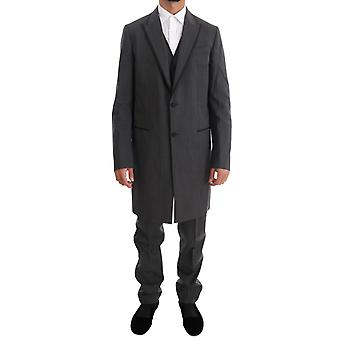 Dolce & Gabbana Gray Wool Long 3 Piece Two Button Suit