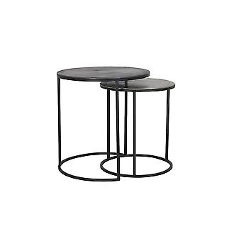 Light & Living Side Table Set Of 2 41x46 And 49x52cm Talca Raw Lead And Antique Lead