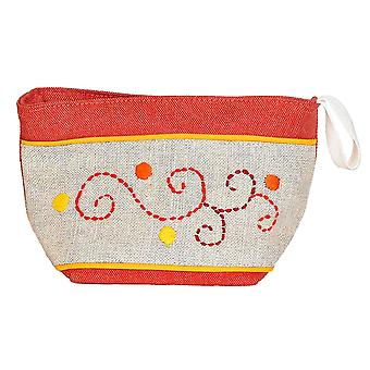 Madaraff Hand Embroidered Cotton Vanity Cosmetics Bag Large - Red