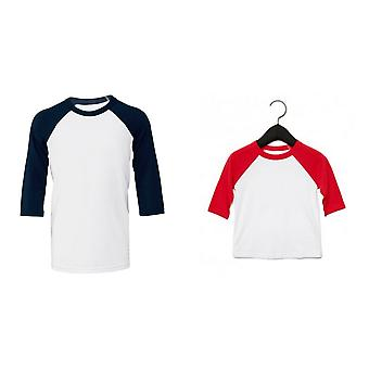 Bella + Canvas Childrens/Kids 3/4 Sleeves Baseball Tee