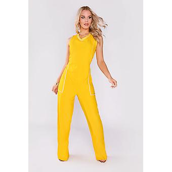 Anicet embroidered trim high v-neck sleeveless evening full-length jumpsuit in bright yellow