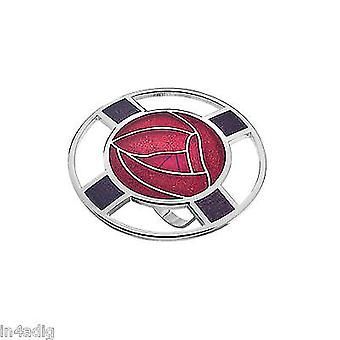 Mackintosh Roses and Lattice Enamel Scarf Ring Gift Boxed - Red
