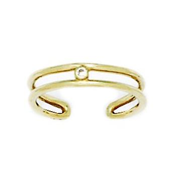 14k Gult Guld CZ Cubic Zirconia Simulerad Diamond justerbar dubbel rad kropp smycken tå ring smycken gåvor för kvinnor