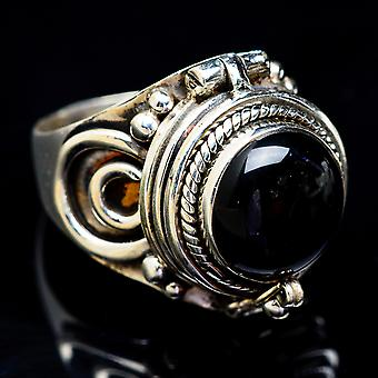 Large Poison Black Onyx Ring Size 8 (925 Sterling Silver)  - Handmade Boho Vintage Jewelry RING3422